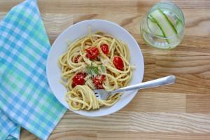 Pasta med tomater i fløde