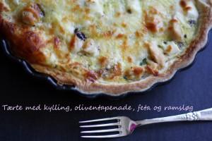 Tærte med kylling, oliventapenade, feta og ramsløg