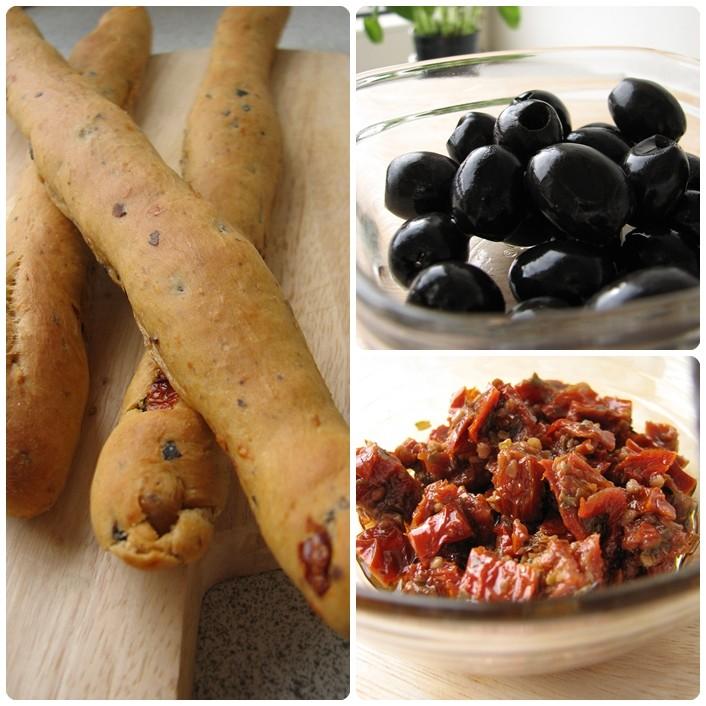 Hjemmebagte brødsticks med oliven og tomat