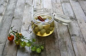 Syltede grønne tomater med vanilje